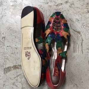 L.J. Simone Shoes - Vintage Multicolored Leather Huarache Slip On